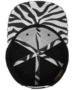 Snapback Cap Animal Schwarz/Zebra 6 Panel - verstellbar Ansicht innen