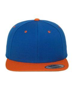 Snapback Cap Classic Blau/Orange 6 Panel - verstellbar Ansicht vorne
