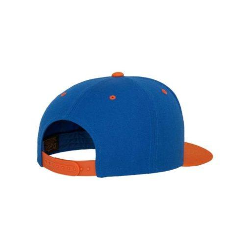 Snapback Cap Classic Blau/Orange 6 Panel - verstellbar Seitenansicht hinten