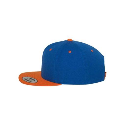 Snapback Cap Classic Blau/Orange 6 Panel - verstellbar Seitenansicht links