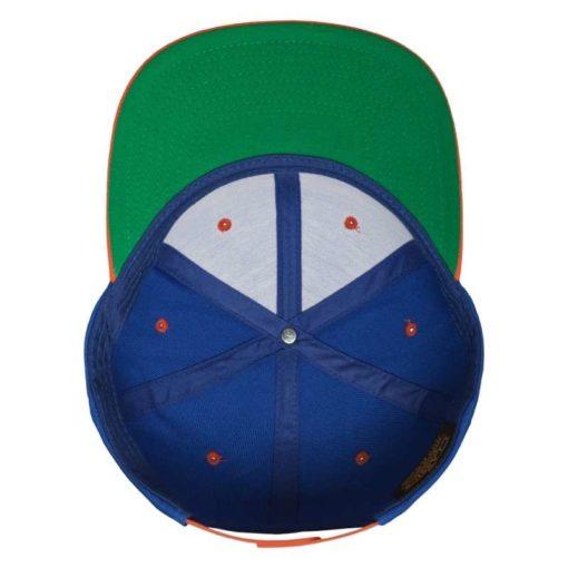Snapback Cap Classic Blau/Orange 6 Panel - verstellbar Ansicht innen