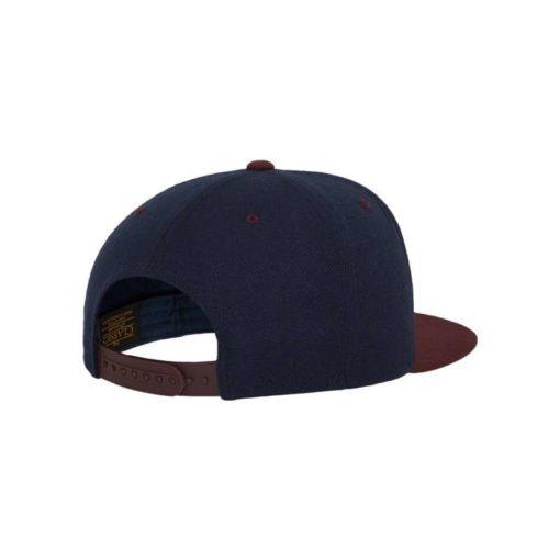 Snapback Cap Classic Dunkelblau/Dunkelrot 6 Panel - verstellbar Seitenansicht hinten