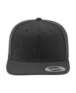 Snapback Cap Classic Dunkelgrau meliert 6 Panel - verstellbar Ansicht vorne