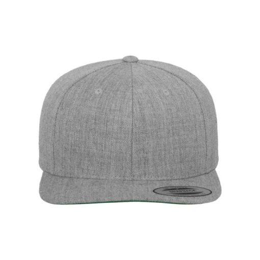 Snapback Cap Classic Graumeliert 6 Panel - verstellbar Ansicht vorne