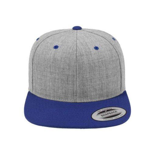 Snapback Cap Classic Graumeliert/Blau 6 Panel - verstellbar Ansicht vorne