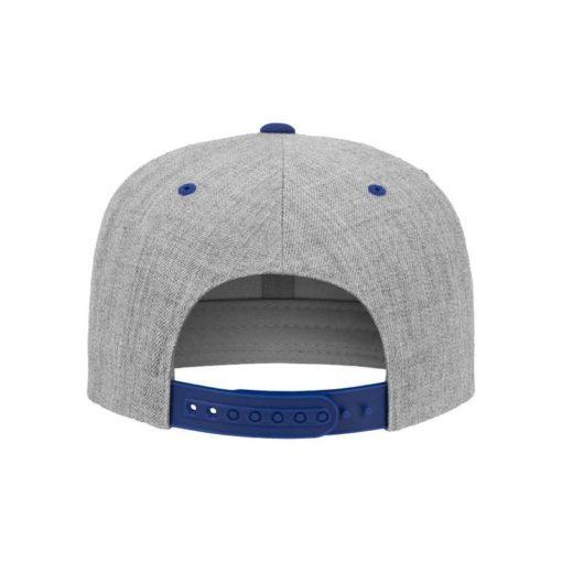 Snapback Cap Classic Graumeliert/Blau 6 Panel - verstellbar Ansicht hinten