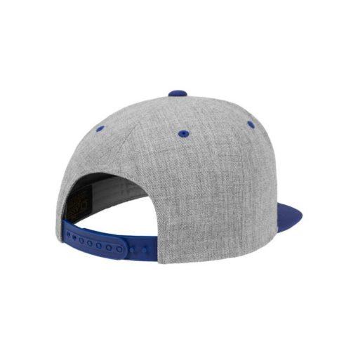 Snapback Cap Classic Graumeliert/Blau 6 Panel - verstellbar Seitenansicht hinten