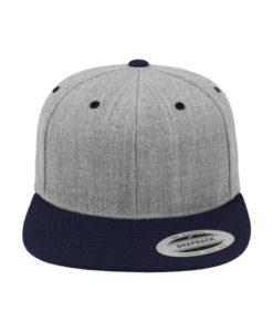 Snapback Cap Classic Graumeliert/Dunkelblau 6 Panel - verstellbar Ansicht vorne