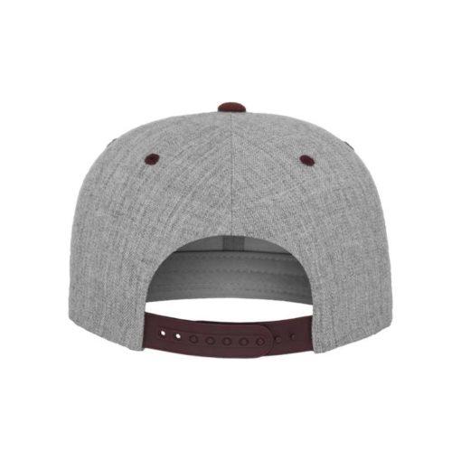 Snapback Cap Classic Graumeliert/Dunkelrot 6 Panel - verstellbar Ansicht hinten