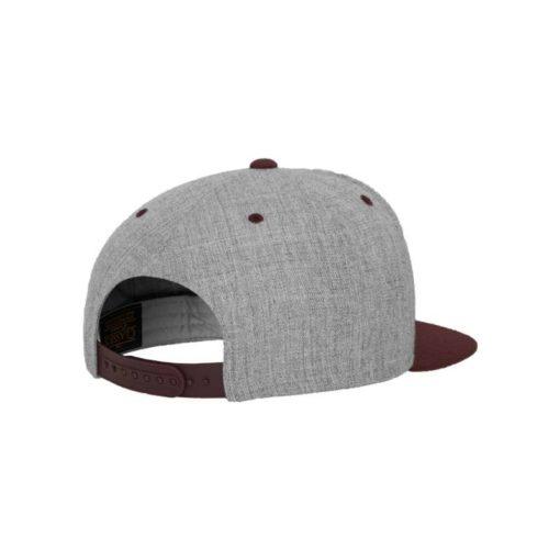 Snapback Cap Classic Graumeliert/Dunkelrot 6 Panel - verstellbar Seitenansicht hinten