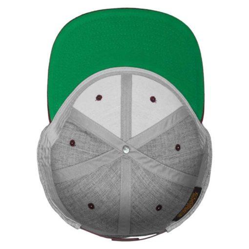 Snapback Cap Classic Graumeliert/Dunkelrot 6 Panel - verstellbar Ansicht innen