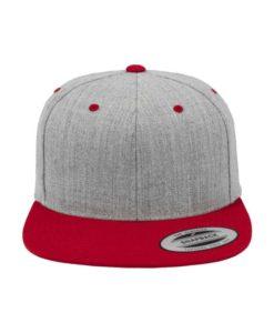 Snapback Cap Classic Graumeliert/Rot 6 Panel - verstellbar Ansicht vorne