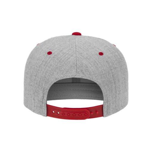 Snapback Cap Classic Graumeliert/Rot 6 Panel - verstellbar Ansicht hinten