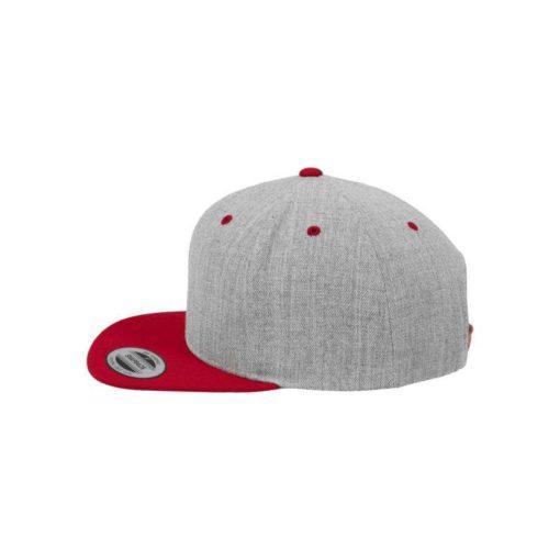Snapback Cap Classic Graumeliert/Rot 6 Panel - verstellbar Seitenansicht links