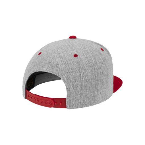 Snapback Cap Classic Graumeliert/Rot 6 Panel - verstellbar Seitenansicht hinten