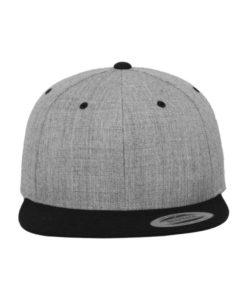 Snapback Cap Classic Graumeliert/Schwarz 6 Panel - verstellbar Ansicht vorne