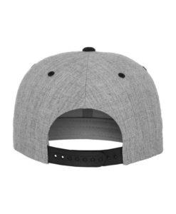 Snapback Cap Classic Graumeliert/Schwarz 6 Panel - verstellbar Ansicht hinten