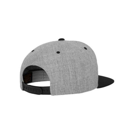 Snapback Cap Classic Graumeliert/Schwarz 6 Panel - verstellbar Seitenansicht hinten