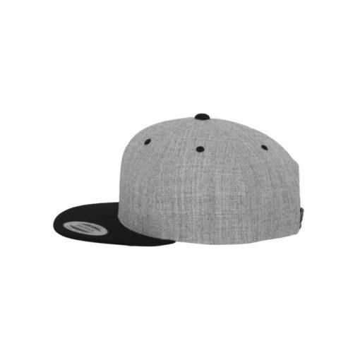 Snapback Cap Classic Graumeliert/Schwarz 6 Panel - verstellbar Seitenansicht links