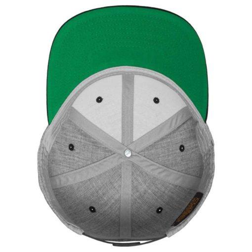 Snapback Cap Classic Graumeliert/Schwarz 6 Panel - verstellbar Ansicht innen
