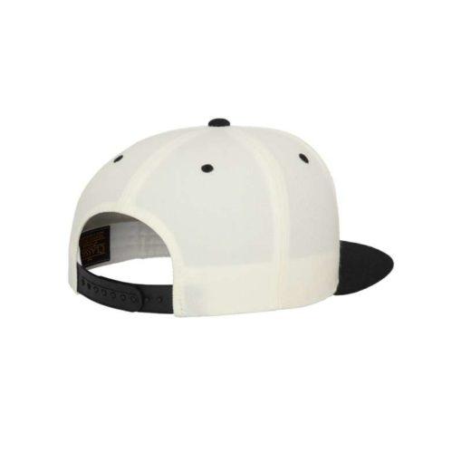 Snapback Cap Classic Naturweiß/Schwarz 6 Panel - verstellbar Seitenansicht hinten