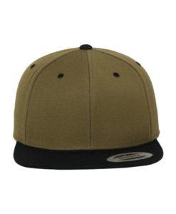 Snapback Cap Classic Olive/Schwarz 6 Panel - verstellbar Ansicht vorne