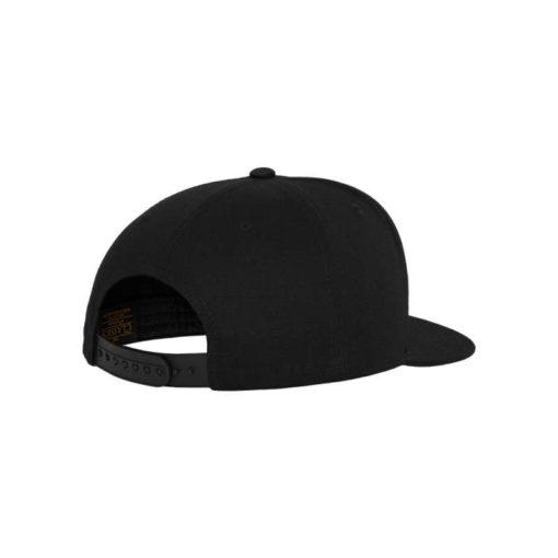Snapback Cap Classic Schwarz 5 Panel - verstellbar Seitenansicht hinten