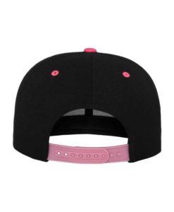 Snapback Cap Classic Schwarz/Neonpink 6 Panel - verstellbar Ansicht hinten