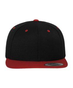 Snapback Cap Classic Schwarz/Rot 6 Panel - verstellbar Ansicht vorne