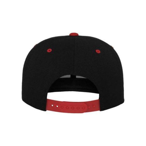 Snapback Cap Classic Schwarz/Rot 6 Panel - verstellbar Ansicht hinten