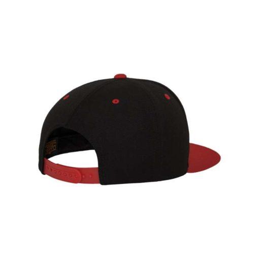 Snapback Cap Classic Schwarz/Rot 6 Panel - verstellbar Seitenansicht hinten