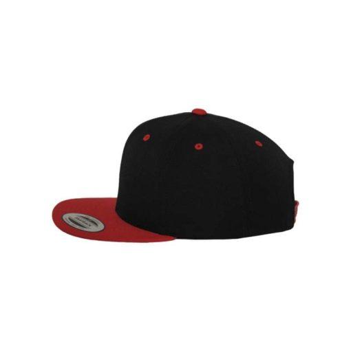 Snapback Cap Classic Schwarz/Rot 6 Panel - verstellbar Seitenansicht links