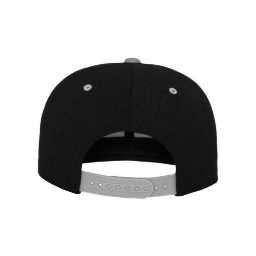 Snapback Cap Classic Schwarz/Silber 6 Panel - verstellbar Ansicht hinten