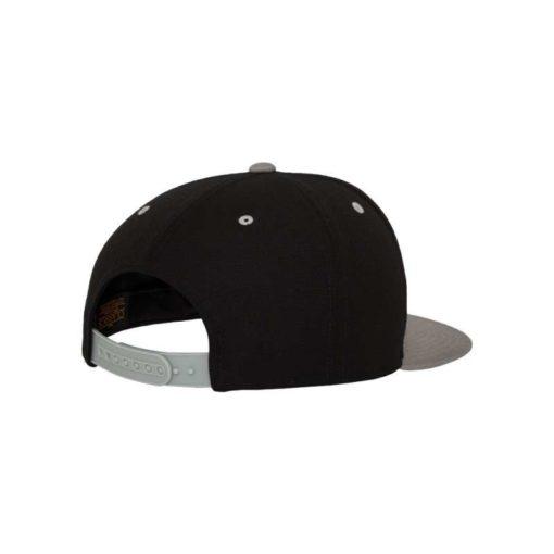 Snapback Cap Classic Schwarz/Silber 6 Panel - verstellbar Seitenansicht hinten