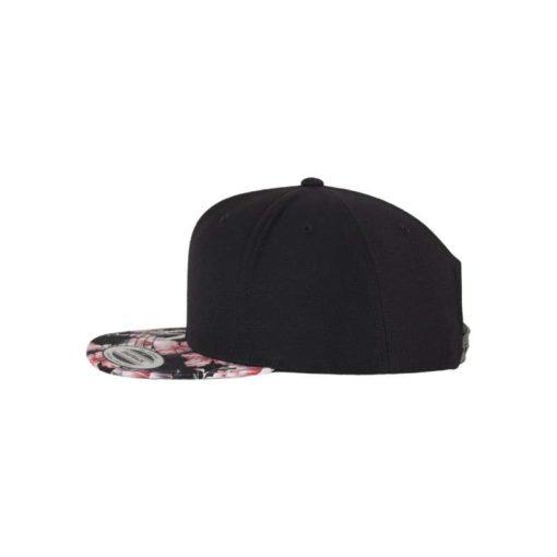 Snapback Cap Floral Pink 6 Panel - verstellbar Seitenansicht links