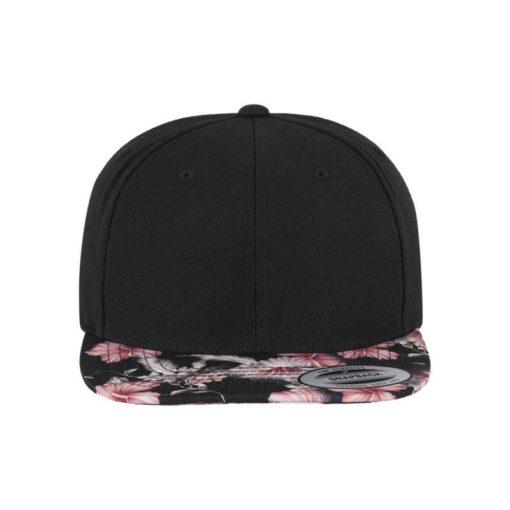 Snapback Cap Floral Pink 6 Panel - verstellbar Ansicht vorne