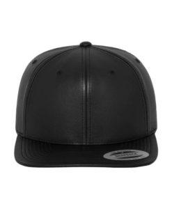 Snapback Cap komplett Kunstleder Schwarz 6 Panel - verstellbar Ansicht vorne