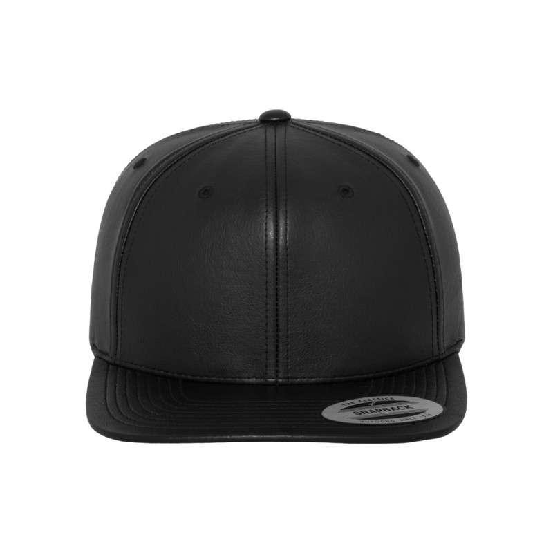 premium snapback cap komplett kunstleder schwarz 6 panel. Black Bedroom Furniture Sets. Home Design Ideas