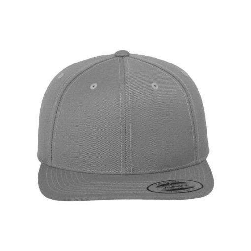 Snapback Cap Classic Silber 6 Panel - verstellbar Ansicht vorne