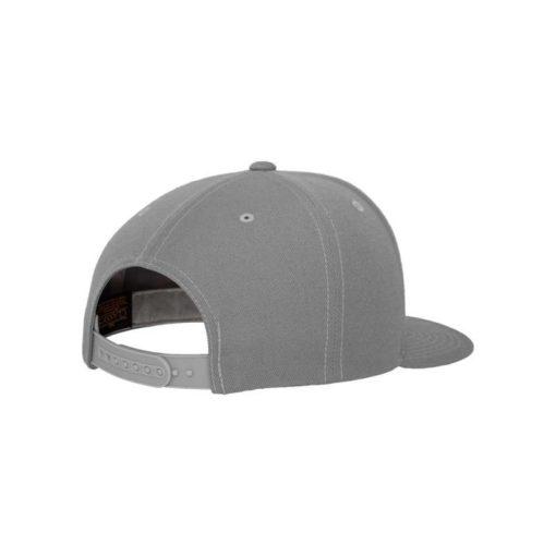 Snapback Cap Classic Silber 6 Panel - verstellbar Seitenansicht hinten