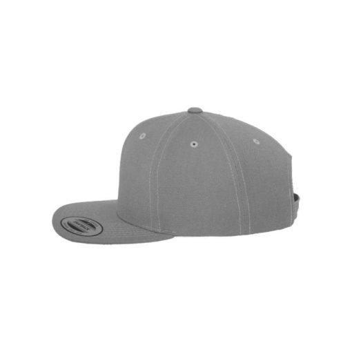 Snapback Cap Classic Silber 6 Panel - verstellbar Seitenansicht links
