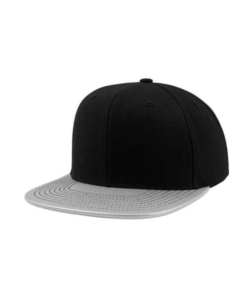 snapback-cap-metallic-schwarzsilber-6-panel-verstellbar