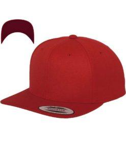 Snapback Cap besticken - Snapback Cap Classic Rot/Rot 6 Panel verstellbar