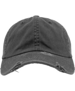 FlexFit Low Profile Destroyed Dunkelgrau Cap 6 Panel - verstellbar Ansicht vorne