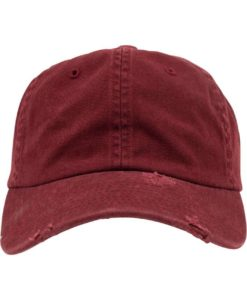 FlexFit Low Profile Destroyed Maroon Cap 6 Panel - verstellbar Ansicht vorne