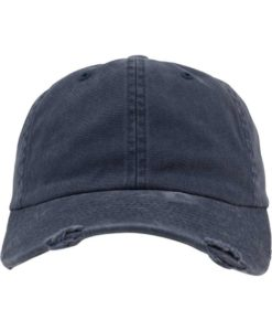FlexFit Low Profile Destroyed Navy Cap 6 Panel - verstellbar Ansicht vorne
