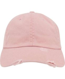 FlexFit Low Profile Destroyed Pink Cap 6 Panel - verstellbar Ansicht vorne