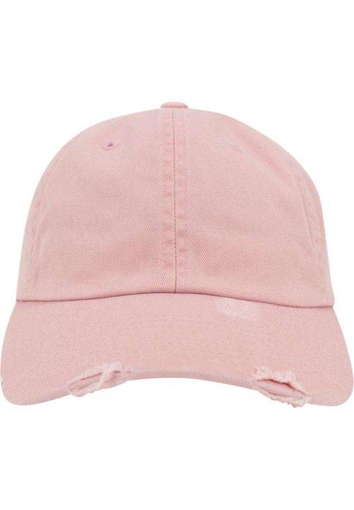 FlexFit Low Profile Destroyed Pink Cap 6 Panel - verstellbar Ansicht vorne