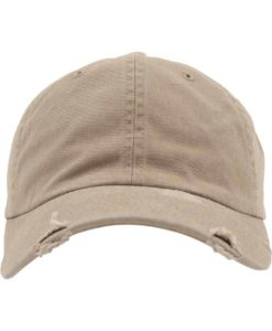 FlexFit Low Profile Destroyed Khaki Cap 6 Panel - verstellbar Ansicht vorne