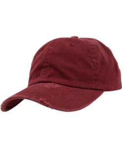 FlexFit Low Profile Destroyed Maroon Cap 6 Panel - verstellbar
